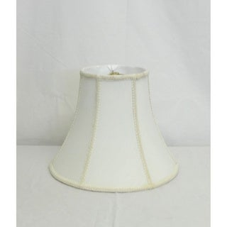 Round White Bell Shade with Trim