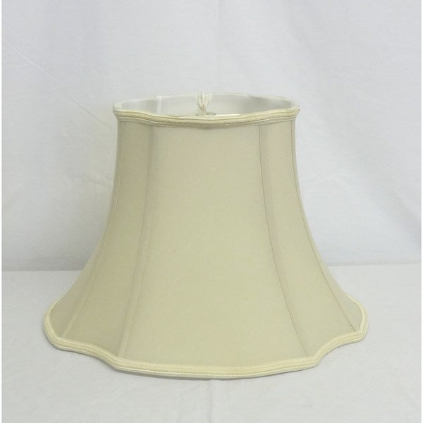 Cream Oval Silk Shade with Trim