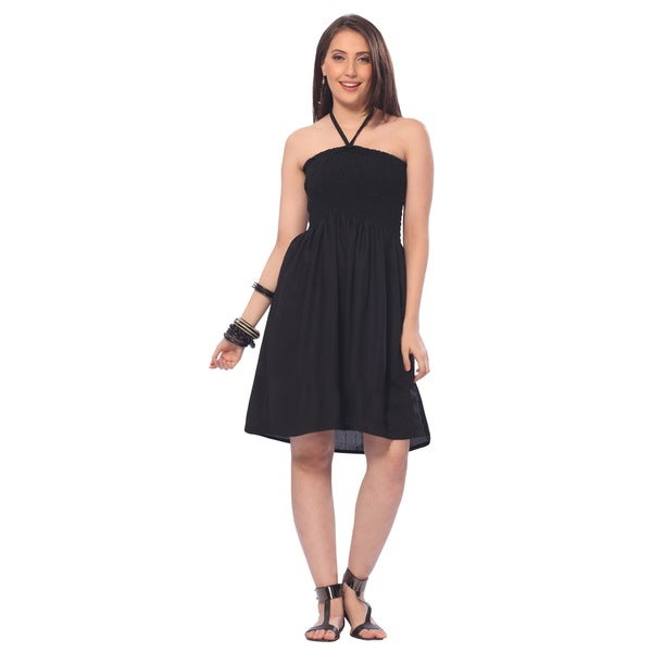 Women's Solid Black Halter Backless Smocked Short Dress