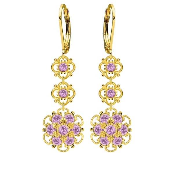 Lucia Costin Sterling Silver/ Lilac Crystal Earrings 16338324