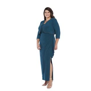 R&M Richards Plus Size Long Rhinestone Jacket Dress