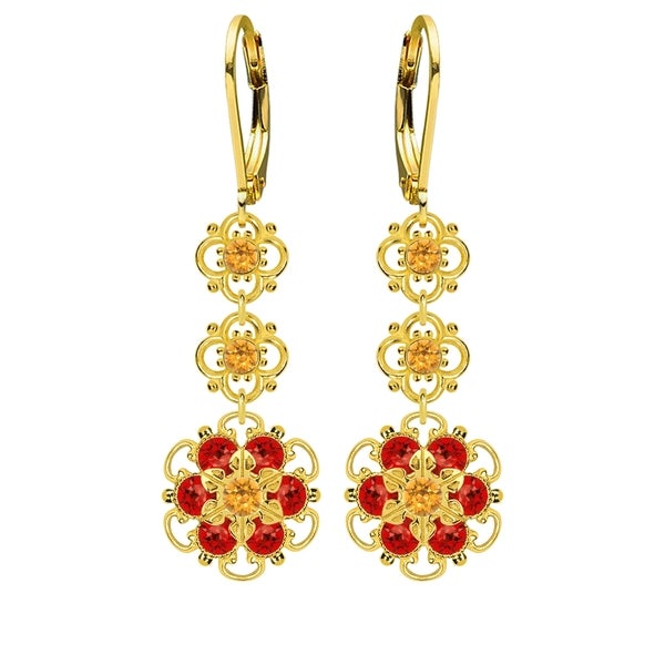 Lucia Costin Sterling Silver Yellow/ Red Crystal Earrings 16338388