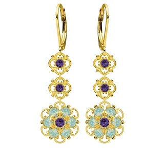 Lucia Costin Sterling Silver Mint Blue/ Violet Crystal Earrings