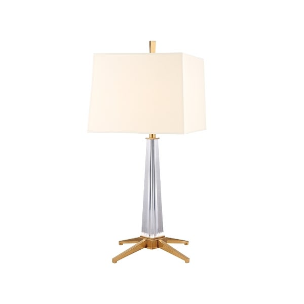 Hudson Valley Hindeman 1-light Brass Table Lamp, White Shade 16338469