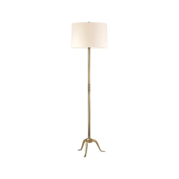 Hudson Valley Burton 1-light Brass Floor Lamp, White Shade