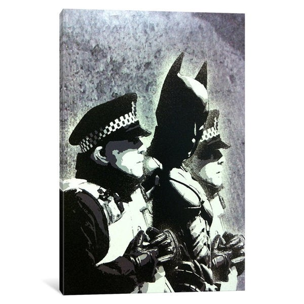 iCanvas Batman and The Police by Banksy Canvas Print