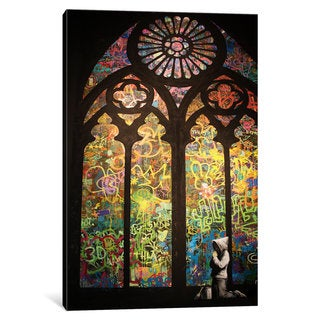 iCanvas Stained Glass Window Graffiti by Banksy Canvas Print