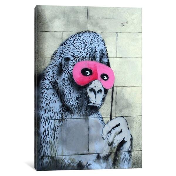 iCanvas Gorilla Mask Pink Ape Monkey by Banksy Canvas Print