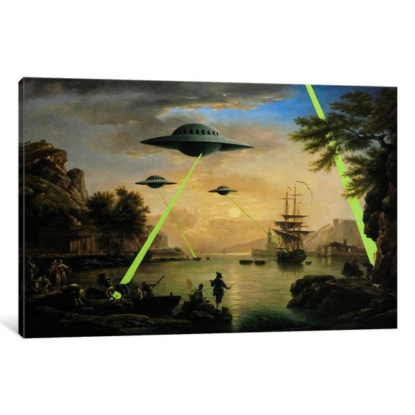 iCanvas Flying Saucers Aliens by Banksy Canvas Print