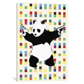 iCanvas Panda with Guns Bright Dots by Banksy Canvas Print
