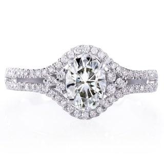 Annello 14k White Gold Oval 7/8ct Forever Classic Moissanite and 1/4ct TDW Diamond Engagement Ring (H-I, I1-I2)