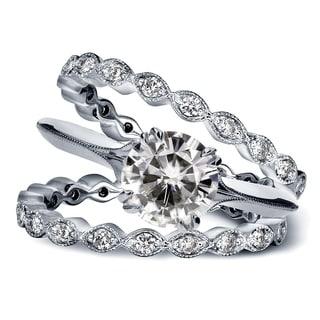 Annello 14k White Gold Forever Brilliant Moissanite 3/4ct TDW Diamond Antique Flower 3-piece Bridal Ring Set (G-H, I1-I2)