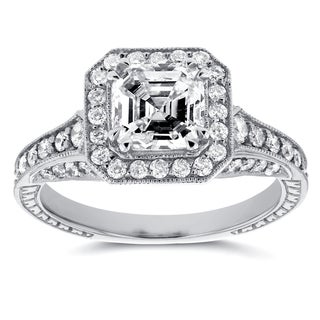 Annello 14k White Gold 1 3/5ct TDW Asscher Diamond Antique Etching Engagement Ring (H-I, SI1-SI2)
