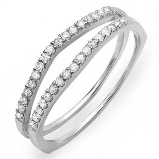 10k White Gold 1/4ct TDW Round Diamond Wedding Band Guard (H-I, I1-I2)