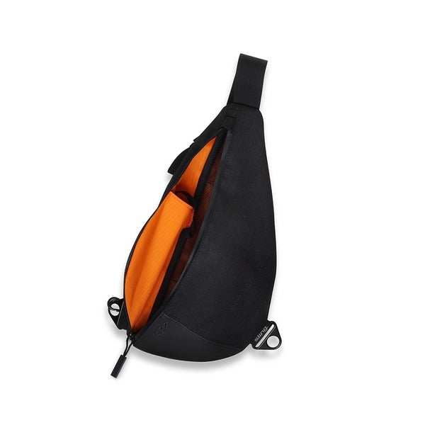 Keep Pursuing Jet Black/Orange Sling Backpack