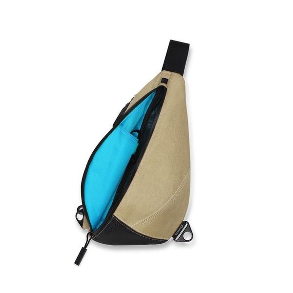 Keep Pursuing Khaki/Sky Blue Sling Backpack