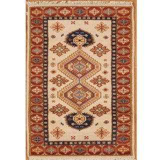 Kazak Red and Ivory Hand-knotted Wool Rug (India)