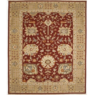 Bothan Burgundy Hand-knotted Wool Area Rug (India)