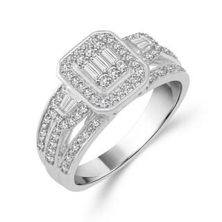 10k White Gold 1/2ct TDW Emerald-shape Diamond Ring (H-I, I1-I2)