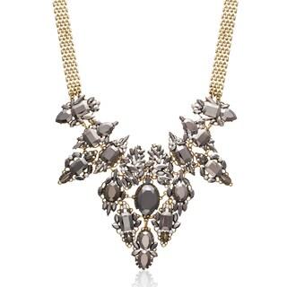 Passiana Pearl and Gunmetal Crystal Regal Bib Necklace