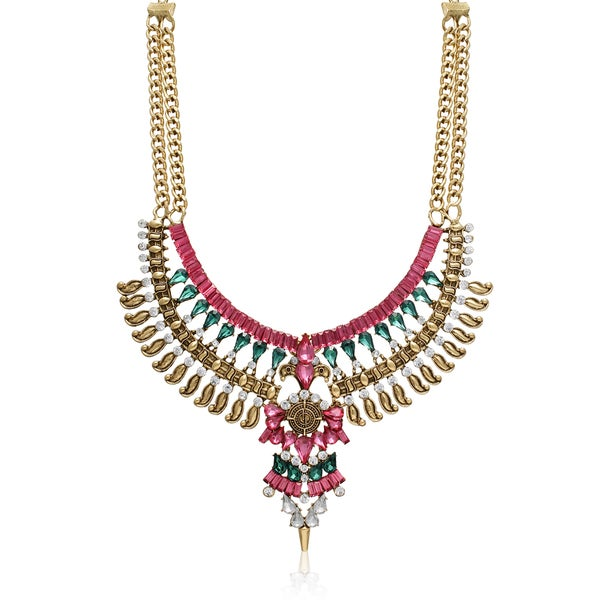 Passiana Pink, Emerald and Crystal Atlantis Bib Necklace
