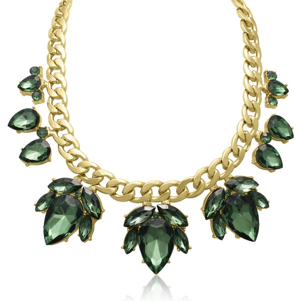 Adoriana Crystal Emerald Green Flower Petal Bib Necklace, Gold Overlay, 17 Inches