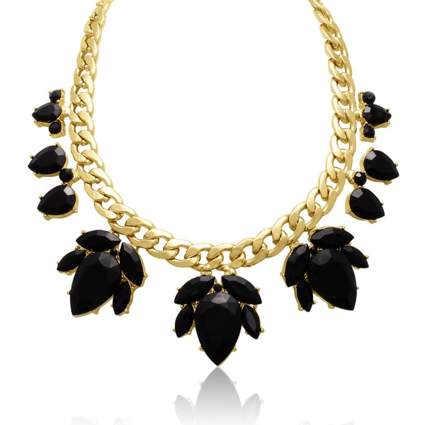Adoriana Crystal Black Onyx Flower Petal Bib Necklace, Gold Overlay, 17 Inches
