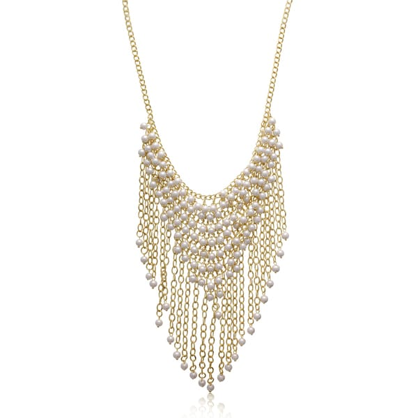 Passiana Pearl Fringe Bib Necklace