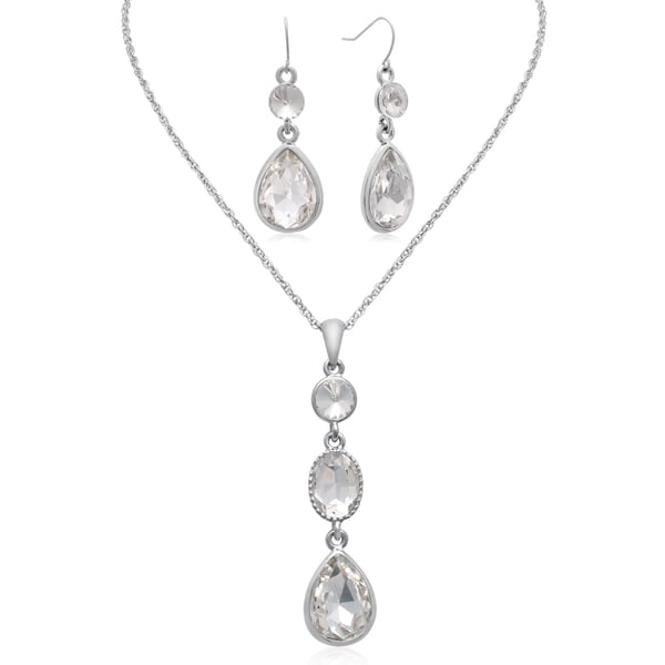 Adoriana Regal Three Stone Crystal Diamond Necklace With Matching Earrings
