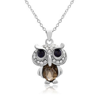 Adoriana Sapphire and White Crystal Owl Necklace, 16 Inches