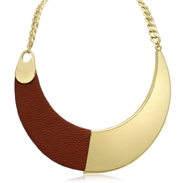 Passiana Brown Vegan Leather and Gold Collar