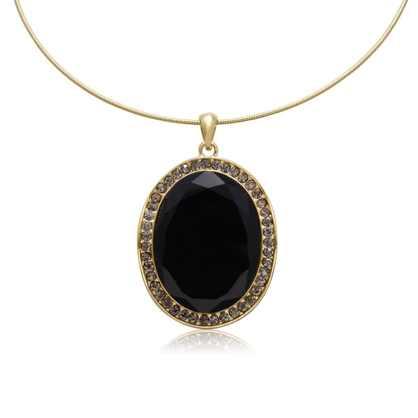 Adoriana Black Onyx and Gunmetal Crystal Oval Shape Choker Necklace, Gold Overlay