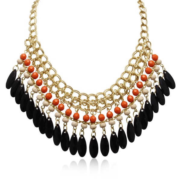 Adoriana Mandarin Orange and Black Onyx Crystal Bib Necklace In Gold Overlay, 16 Inches
