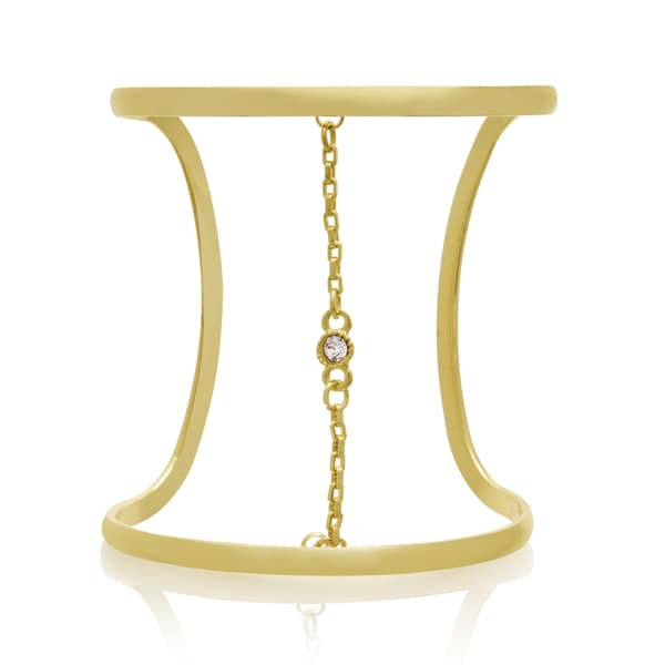 Adoriana Crystal and Chain Wide Cuff Bangle, Gold Overlay