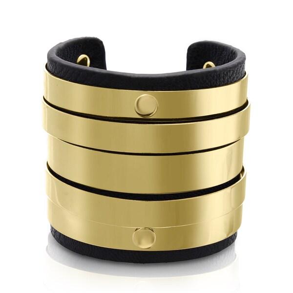 Passiana Black Vegan Leather Round Bangle Cuff