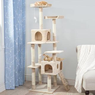 PETMAKER Skyscraper Tan Sleep and Play Cat Tree