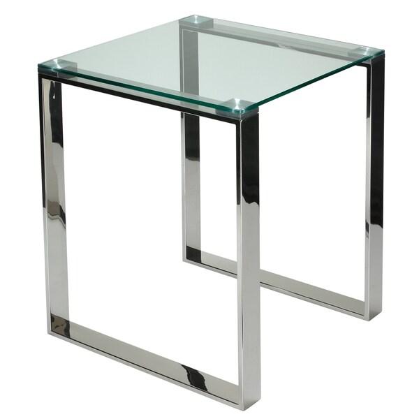cortesi home remi contemporary chrome square glass end
