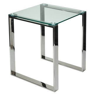 Cortesi Home Remi Contemporary Chrome Square Glass End Table