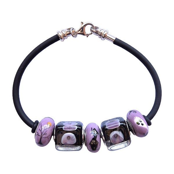Black Rubber and Sterling Silver 'Haunting' Glass Bead Bracelet