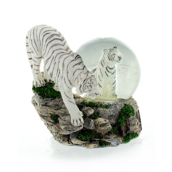 "Snow Globe White Tiger with Cub 4"" high"