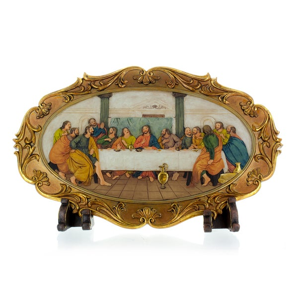 "Last Supper, Wall Plaque or Table Top with Stand 11"" high"