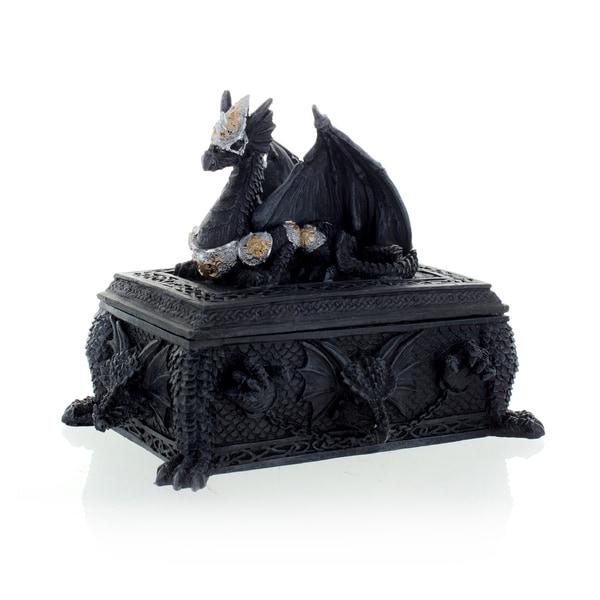 "Dragon Trinket Box Black, 5 1/2"" high"