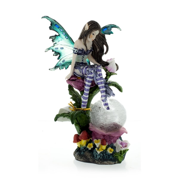 "Fairy-LED, Lavender with Clear Wings, 7 1/2"" high"