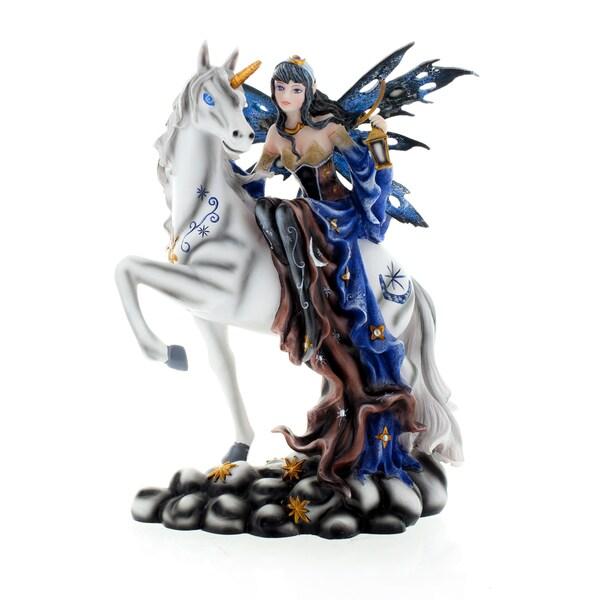 """Fairy on Unicorn, Blue 10"""" high"""