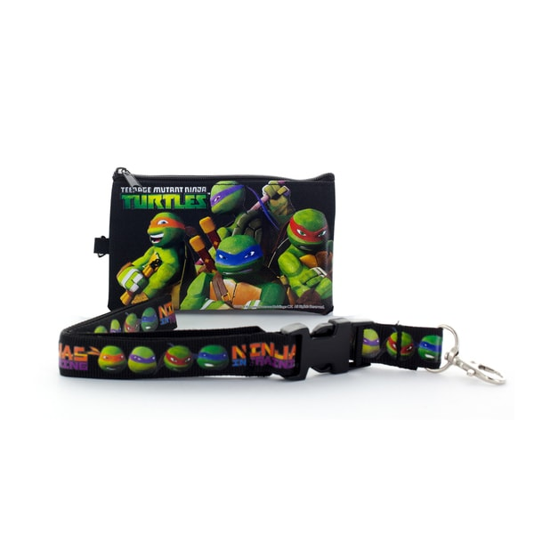 Ninja Turtles Lanyard with Detachable Coin Pouch and Clear Opening for ID or Cell Phone Holder