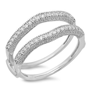14k White Gold 1/2ct TDW Diamond Anniversary Milgrain Double Ring Guard (H-I, I1-I2)