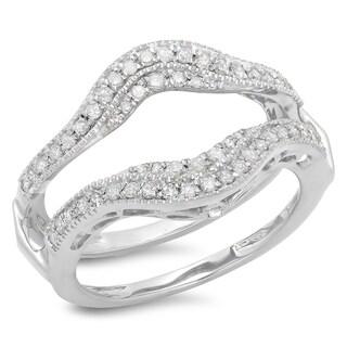 14k White Gold 1/2ct TDW Diamond Wedding Band Double Ring Guard (H-I, I1-I2)
