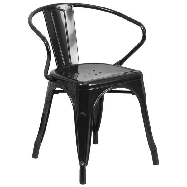 Vintage Style Industrial Stackable Metal Armchair