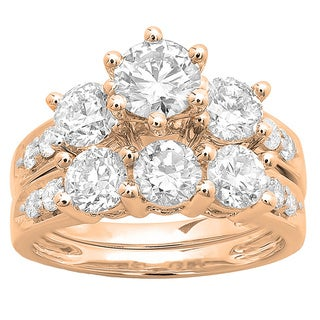 14k White Gold 3 1/10ct TDW Round Diamond Bridal Set (H-I, I1-I2)