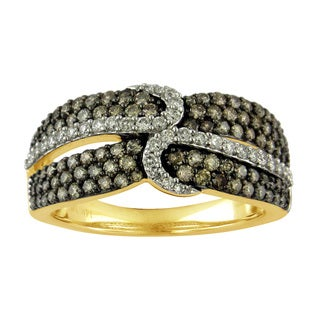 Divina 10k Yellow Gold 1ct TDW Champagne and White Diamond Fashion Ring (G-H, I1-I2)